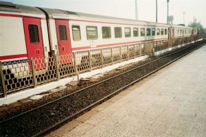 TVS2000 pullman cars attached to Cukurova Mavi Treni at Adana station. 2001. Photo Gökçe Aydin.