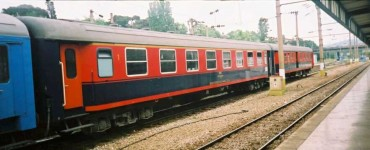 A first class compartment coach is in Haydarpasa. Note that this car is not of 26.4 m length, hence it looks somewhat different than the others but the main technical structure is not different. 2001. Photo Gökçe Aydin.