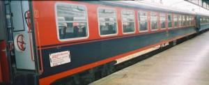 The black-red Pullman is ready to depart to Eregli from Haydarpasa in the train Içanadolu Mavi Treni (Blue Train). 2001. Photo Gökçe Aydin.