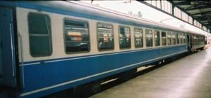Içanadolu Mavi Treni from Eregli has arrived to Haydarpasa. This is an example for a Mavi Tren operating with blue Pullman. 2001. Photo Gökçe Aydin.