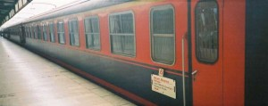 The couchette car of TCDD is added to Meram Express for the Usak connection (normally the train goes to Konya). 2001. Photo Gökçe Aydin.