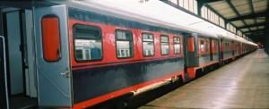 The regional car of Haydarpasa Adapazari local express train, ready to depart from Haydarpasa. 2001. Photo Gökçe Aydin.