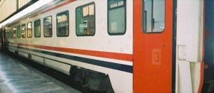 TVS2000 Pullman car of Izmir Mavi Treni. The train is waiting for its departure in Ankara station. 2001. Photo Gökçe Aydin.