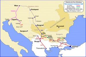Chemins de Fer Orientaux: 1888 Istanbul to Vienna completion