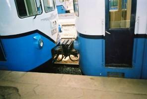 Automatic Sharfenberg coupling between units 8025 and 8024. July 2001, photo Gökçe Aydin