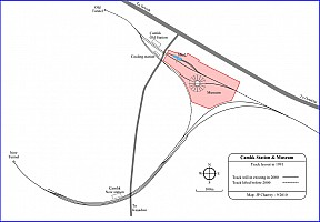 Track layout map showing museum location over the former Çamlık station and shed tracks
