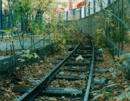 The track remains on about half the loop. It is in quite good shape except for some overgrown trees here and there. November 2003. Photo JP Charrey