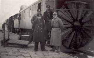 Posing in front of the snowplow at Çetinkaya, 11 January 1938