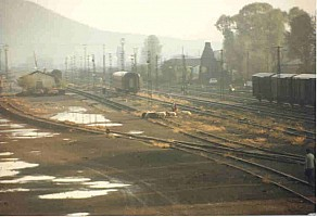 Kars Yard (telephoto) Note sheep on carriage sidings, to the right is the line to Akyaka, and beyond is the loco shed. Photo Malcolm Peakman 1997