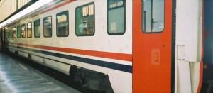 TVS2000 Pullman car of Izmir Mavi Treni. The train is waiting for its departure in Ankara station. 2001. Photo Gökçe Aydin.