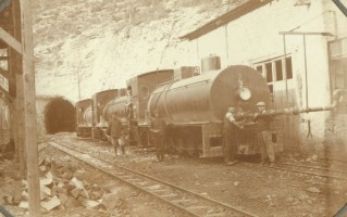 Three fireless locos at the Hacikiri filling station,  most likely Henschel