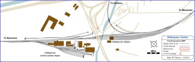 Halkapınar, station and depot track plan in 2009
