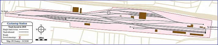 Gaziantep station track layout, 2015 before the station restructuring and electrification