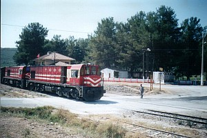 The front engine is DE18118, the other one is a DE18000, most probably 18003, at Camlık Station. 2001. Photo Altan Ataman