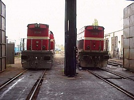 Two DE22000 seen from the back, at the entrance of Ankara shed. October 2002 Photo Derya Ferendeci
