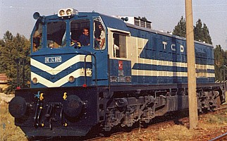very nice picture of DE24009 in the blue livery. The rheostatic braking cabinet is very visible. 30 July 1985. Photo Ergin Tönük