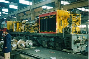 24217 from the rear, during heavy overhaul at Ankara Demiryolu Fabrikasi. 4 Nov 2003. Photo JP Charrey